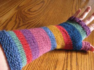 Stripy mitts