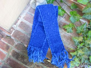 Blue chenille scarf