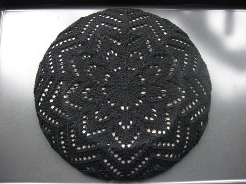 Lace tam blocked